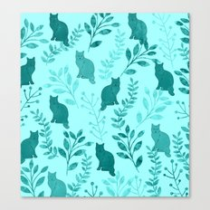 Watercolor Floral and Cat VIII Canvas Print
