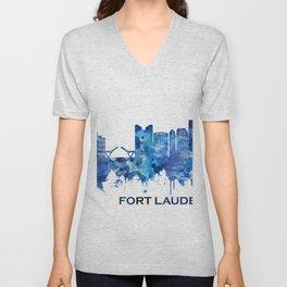 Fort Lauderdale Florida Skyline Blue Unisex V-Neck