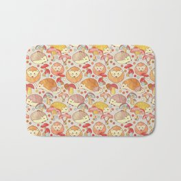 Woodland Hedgehogs - a pattern in soft neutrals  Bath Mat