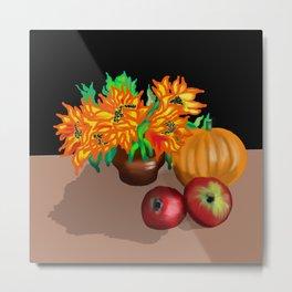 still life with pumpkin on black background Metal Print