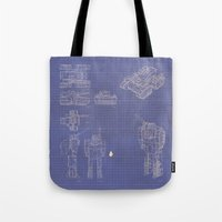 transformer Tote Bags featuring Transformer Blueprints by William McDonald