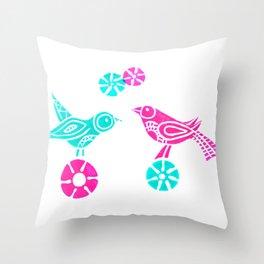 Greeting in Birdsong Throw Pillow