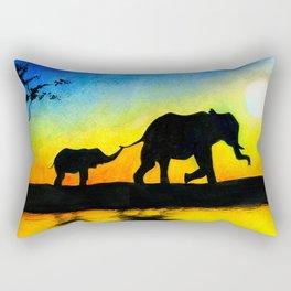 African Sunset Elephant Silhouette Rectangular Pillow