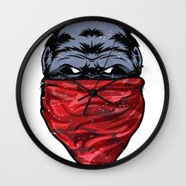 Gorilla Gangster Ape wearing a Red Bandanna Wall Clock