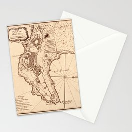 Map Of Monaco 1764 Stationery Cards