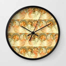 "Alphonse Mucha ""The Arts: Music, Poetry, Painting, Dance (series)"" Wall Clock"