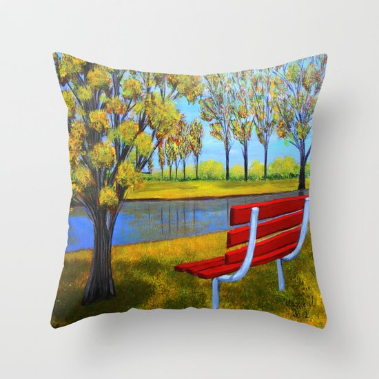 The red bench  Throw Pillow