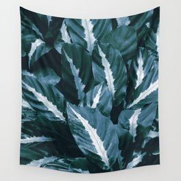 Blue Green Tropical Jungle Night Leaves #1 #tropical #decor #art #society6 Wall Tapestry