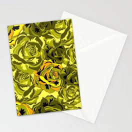 Vibrant  Green Rose floral texture Stationery Cards