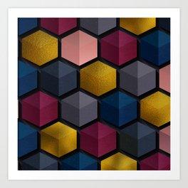 Golden Jewel Cubes Art Print