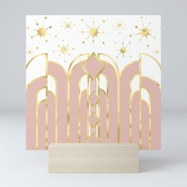 Art Deco Geometric Architectural Shapes and Stars in Blush Pink and Yellow Gold Mini Art Print