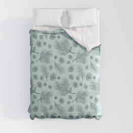 Pine Cones and Pine Branches Pattern (Mint and Pine) Comforters