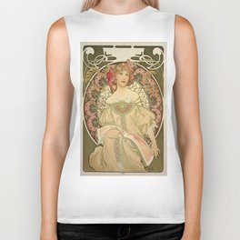 Vintage poster - Woman with flowers Biker Tank