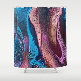 Psychedelic pink and turquoise lacing Shower Curtain