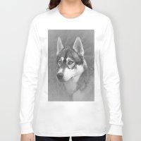husky Long Sleeve T-shirts featuring Siberian Husky by Doug McRae