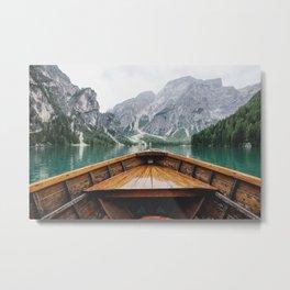 Mountain Lake with natural wood boat Metal Print
