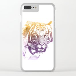 TIGER SUPERIMPOSED WATERCOLOR Clear iPhone Case