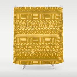 Mud Cloth on Mustard Shower Curtain