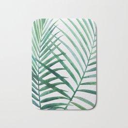 Emerald Palm Fronds Watercolor Bath Mat