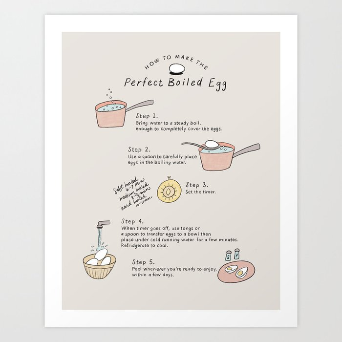 Perfect Boiled Egg - Kitchen How To Illustration Art Print