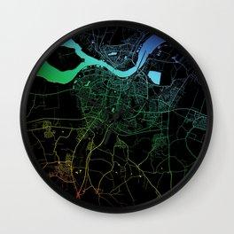 Aalborg, Denmark, City, Map, Rainbow, Map, Art, Print Wall Clock