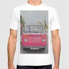 Hot Pink Lady White MEDIUM Mens Fitted Tee