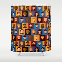 picard Shower Curtains featuring STARFLEET by badOdds