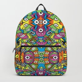 Funny smiling characters in a whimsical pattern design Backpack