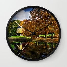 Autumn landscape with a windmill and pond in the Netherlands  Wall Clock