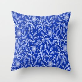Vintage Lace Floral Sapphire Blue Throw Pillow