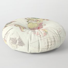 Vintage Geological Map of The World (1856) Floor Pillow