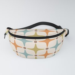 Mid Century Modern Star Pattern 817 Orange Brown Blue and Olive Green Fanny Pack