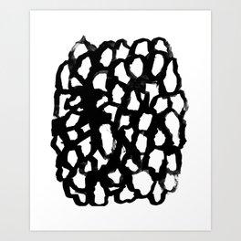 Rosanthe - modern minimal black and white painting brushstrokes free spirit boho urban city pattern Art Print