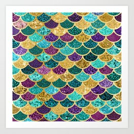 Glitter Blues, Purples, Greens, and Gold Mermaid Scales Art Print