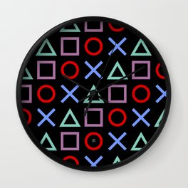Gamer Pattern (color on black) Wall Clock