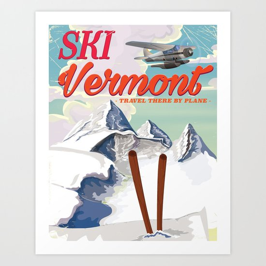 Vermont vintage ski travel poster by nicholasgreen