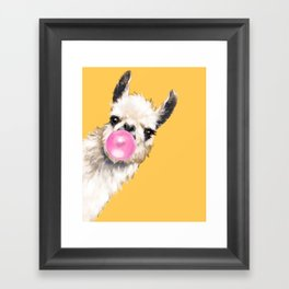 Bubble Gum Sneaky Llama in Yellow Framed Art Print