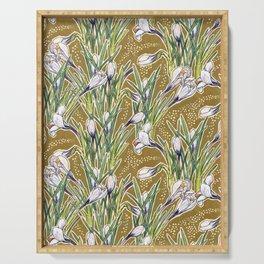 White Crocuses Spring Flowers Botanical Floral Pattern Olive Khaki Serving Tray
