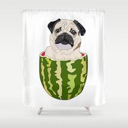 Pug Watermelon Shower Curtain