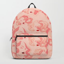 A pattern of glamorous girls with wavy hair - in colors of apricot and tea rose Backpack