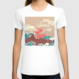 Stylized big waves of ocean or sea at sunset landscape T-shirt