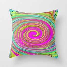 Groovy Abstract Pink Swirl Art 094 Throw Pillow