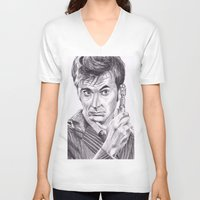 david tennant V-neck T-shirts featuring David Tennant as Doctor Who by Kate Murray