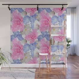 Pink Glads Blue Iris Flowers Large Wall Mural