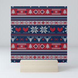 Ugly Christmas Sweater Navy & Red Mini Art Print