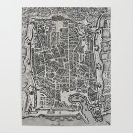 Vintage Map of Palermo Italy (1581) Poster