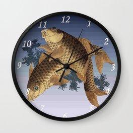 Hokusai – two carps -葛飾 北斎,engraving,carpa, fish. Wall Clock