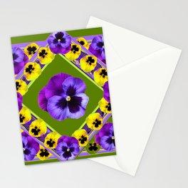 GREEN GEOMETRIC  PURPLE & YELLOW  PANS GARDEN ART Stationery Cards