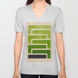 Sap Green Geometric Watercolor Painting Unisex V-Neck
