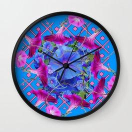 Purple & Pink Morning Glories Blue Pattern Art Wall Clock